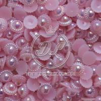 """С-ка """"Солнце """" 1.1 см , розовая (перлам.)"""