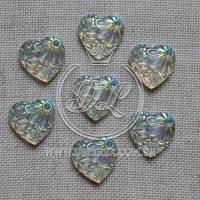 "С-ка сердце ""Цветок"" 16 мм, серебро-250 шт."