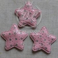 Апликация ЗВЕЗДОЧКА + СЕРДЕЧКА  эко , розовая