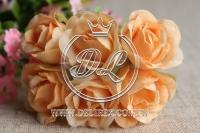 Роза тканевая 2 см, оранжевая