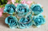 Роза тканевая 2 см,бирюзовая