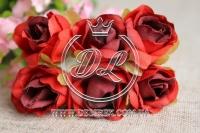 Роза тканевая 2 см, красная