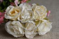 Роза тканевая 2 см, молочная