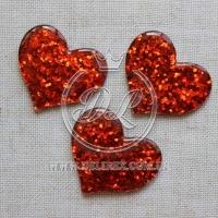 Пластик -пайетка сердечко , красная  (25 шт.)