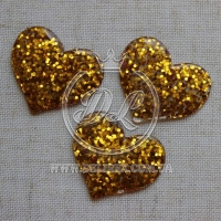 Пластик -пайетка сердечко ,золото (25 шт.)