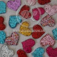 Пластик -пайетка сердечко , микс (25 шт.)