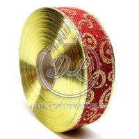 """Лента новогодняя мешковина """"Узор"""" 3.8 см, золотистый на бордовом"""