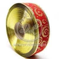 """Лента новогодняя мешковина """"Узор"""" 3.8 см, золотистый на красном"""