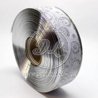"Лента новогодняя мешковина ""Узор"" 3.8 см, серебристый на белом"
