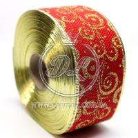 """Лента новогодняя мешковина """"Узор"""" 6.3 см, золотистый на красном"""