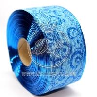 """Лента новогодняя мешковина """"Узор""""  6.3 см, т. синий на синем"""