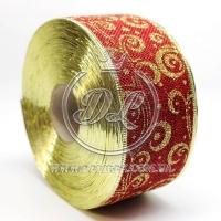 """Лента новогодняя мешковина """"Узор"""" 6.3 см, золотистый на бордовом"""