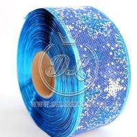 "Лента новогодняя мешковина ""Снежинка"" 6.3 см, на синем"