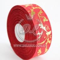 Лента новогодняя 4 см фольга на мешковине, красная