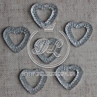 Сердце пупер 16 мм, серебро-пустое (250 шт.)