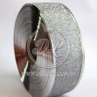 Лента новогодняя сетка  с присыпкой 3.8 см, серебро