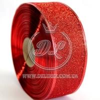 Лента новогодняя сетка  с присыпкой 3.8 см, красная