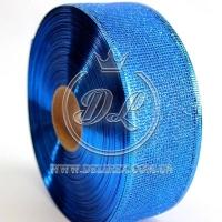 Лента новогодняя сетка  с присыпкой 3.8 см, синяя