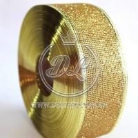 Лента новогодняя сетка  с присыпкой 3.8 см, золото