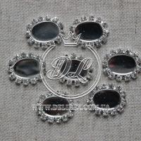 Серединка со стразами овальная (метал)- 10 шт.