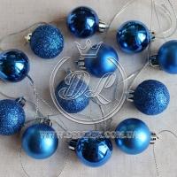Набор новогодних шариков , синий