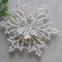 Снежинка с присыпкой 13 см, бела -1 шт. # 001