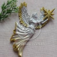 Ангелочек 16 см, серебристо-золотистый -1 шт.
