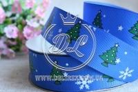 Репс 2.5 см новогодняя, елочка на синем