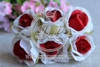 Роза тканевая 2 см, бело-красная