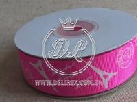 "Репс 2.5 см ""Париж"", на ярко-розовом"