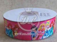 """Репс 2.5 см """"Принцессы R8-21 """"  на ярко-розовом"""