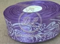 """Атлас 4 см """"Орнамент"""", фиолетовый"""