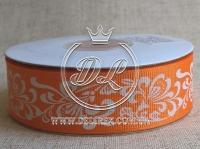 """Репс 2.5 см """"Орнамент"""" , на оранжевом"""