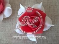 Бутоны роз  # 005 - 7 см , бело-красные