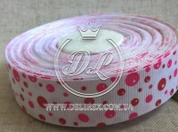 """Репс 2.5 см """"Пузырьки"""", ярко-розовые на белом"""