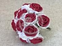 Роза  # 11007 -3 см, бело-бордовая