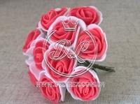 Роза  # 11007 -3 см, бело-коралловая