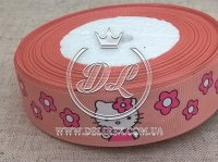 """Репс 2.5 см """"Kitty + цветок"""" , на персиковом"""