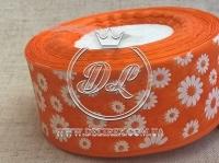 """Органза """"Ромашка"""" 4 см, оранжевая"""