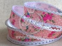 """Репс 2.5 см """"Кружевной край"""", розовый"""