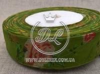 "Органза ""Розочка""  2.5 см, оливковая"