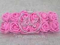 Роза 2.2 см с фатином, яр.розовая