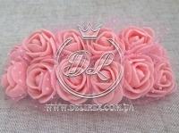 Роза 2.2 см с фатином, персиковая