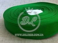 Органза 4 см атласный кант, зелёная