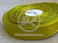 Органза 2.5 см атласный кант, оливковая