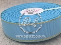 Репс с люрексом 2.5 см (золото), голубой