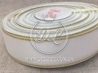Репс с люрексом 2.5 см (золото), белый