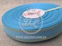 Репс с люрексом 1.5 см (золото), голубой