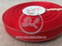 Репс с люрексом 1.5 см (серебро), красный