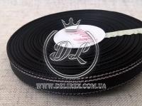 Репс с люрексом 0.9 см (серебро), черный